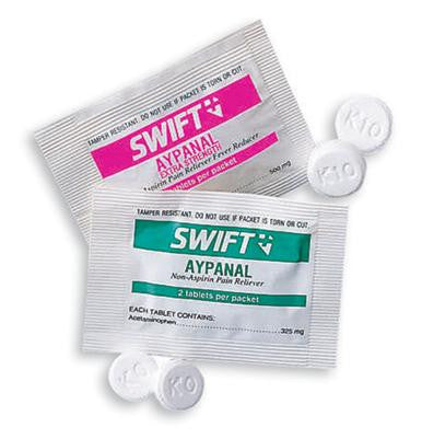 Swift First Aid 2 Pack Extra Strength Aypanal Non Aspirin Pain Reliever Containing 500Mg Acetaminophen (125 Packs Per Box, 12 Boxes Per Case)