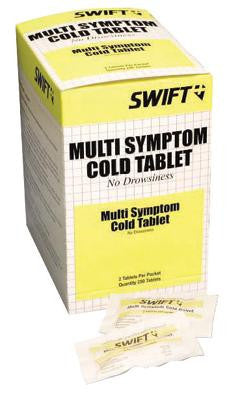Swift First Aid Multi-Symptom Cold Tablet (2 Per Package, 100 Packages Per Box)