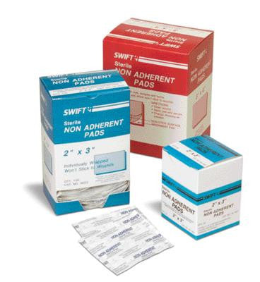 "Swift First Aid 3"" X 4"" Sterile Non-Adherent Gauze Pad (100 Per Box)"
