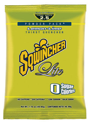 Sqwincher 1.76 Ounce Instant Powder Pack Lemon Lime Lite Electrolyte Drink - Yields 2 1/2 Gallons (32 Packets Per Case)