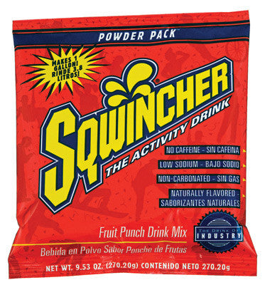 Sqwincher 9.53 Ounce Instant Powder Pack Fruit Punch Electrolyte Drink - Yields 1 Gallon (20 Packets Per Box)