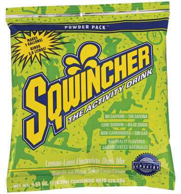 Sqwincher 9.53 Ounce Instant Powder Pack Lemon Lime Electrolyte Drink - Yields 1 Gallon (20 Packets Per Box)