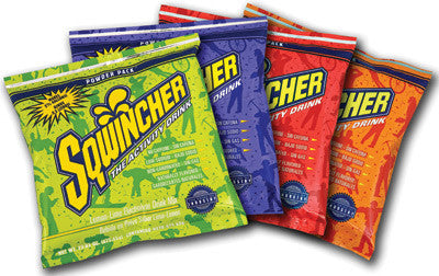 Sqwincher 23.83 Ounce Instant Powder Pack Assorted Flavors Electrolyte Drink - Yields 2 1/2 Gallons (32 Packets Per Case)