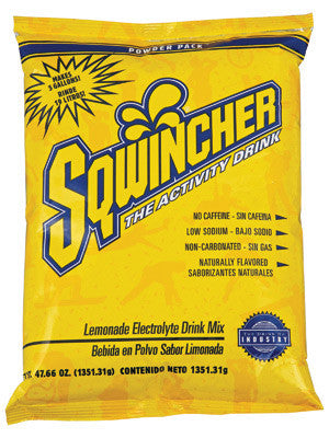 Sqwincher 47.66 Ounce Instant Powder Pack Lemonade Electrolyte Drink - Yields 5 Gallons (16 Each Per Case)