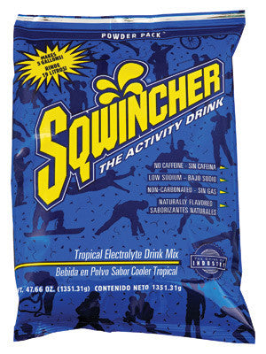 Sqwincher 47.66 Ounce Instant Powder Pack Tropical Cooler Electrolyte Drink - Yields 5 Gallons (16 Each Per Case)