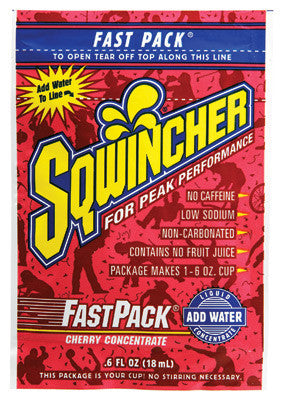 Sqwincher .6 Ounce Fast Pack Liquid Concentrate Cherry Electrolyte Drink - Yields 6 Ounces (50 Single Serving Packets Per Box)