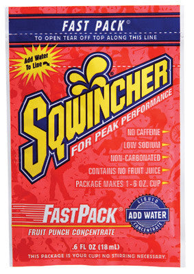 Sqwincher .6 Ounce Fast Pack Liquid Concentrate Fruit Punch Electrolyte Drink - Yields 6 Ounces (50 Single Serving Packets Per Box)