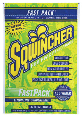 Sqwincher .6 Ounce Fast Pack Liquid Concentrate Lemon Lime Electrolyte Drink - Yields 6 Ounces (50 Single Serving Packets Per Box)