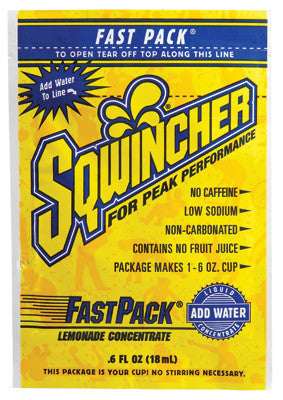 Sqwincher .6 Ounce Fast Pack Liquid Concentrate Lemonade Electrolyte Drink - Yields 6 Ounces (50 Single Serving Packets Per Box)