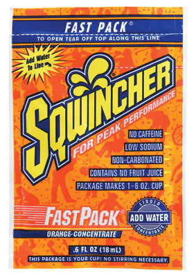 Sqwincher .6 Ounce Fast Pack Liquid Concentrate Orange Electrolyte Drink - Yields 6 Ounces (50 Single Serving Packets Per Box)