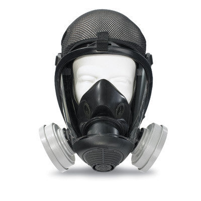 Survivair Small Black Silicone S-Series Opti-Fit Full Face APR Facepiece With Nose Cup, Speaking Diaphram, Polycarbonate Lens And Mesh Headnet
