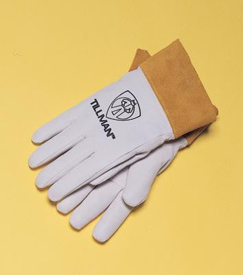 "Tillman Medium Top Grain Pearl Kidskin TIG Welders Gloves With Kevlar Stitching, Wing Thumb And 2"" Cuff (Carded)"