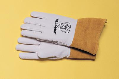 "Tillman Medium Top Grain Pearl Gray Kidskin Premium Grade TIG Welders Glove With Kevlar Stitching, Wing Thumb, 4"" Cuff And Seamless Forefinger"