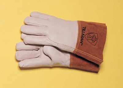 "Tillman  Large Top Grain Pearl Gray Leather Premium Grade TIG Welders Glove With Kevlar Stitching, Wing Thumb, 4"" Cuff And Seamless Forefinger"