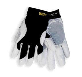 Tillman Medium Black And White TrueFit Premium Full Finger Top Grain Cowhide And Spandex Mechanics Gloves With Elastic Cuff, Double Leather Palm, And Reinforced Thumb