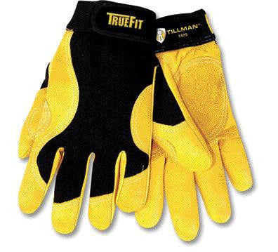 Tillman Medium Black And Gold TrueFit Premium Full Finger Top Grain Cowhide And Spandex Mechanics Gloves With Elastic Cuff, Double Leather Palm, Reinforced Thumb, And Smooth Surface Fingers