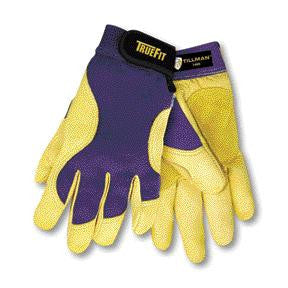 Tillman Medium Blue And Gold TrueFit Premium Full Finger Top Grain Deerskin And Spandex Mechanics Gloves With Elastic Cuff, Double Leather Palm, Reinforced Thumb, And Smooth Surface Fingers