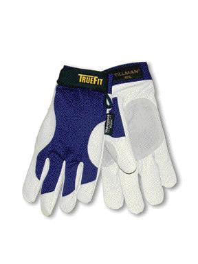 Tillman 2X Blue And Gray TrueFit Pigskin And Nylon Thinsulate Lined Cold Weather Gloves With Elastic Cuffs