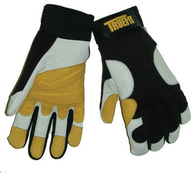 Tillman 2X Black, Gold And Pearl TrueFit Super Premium Full Finger Top Grain Goatskin And Spandex Mechanics Gloves With Elastic Cuff, Double Reinforced Fingertips, Additional Palm Padding , And Side Bolsters On Back Of Glove
