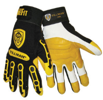 Tillman Large Black And Gold TrueFit Super Premium Full Finger Top Grain Goatskin And Spandex Mechanics Gloves With Elastic Cuff Hook & Loop Cuff And TPR Pads on Finger,Knuckle And Back Of Hand
