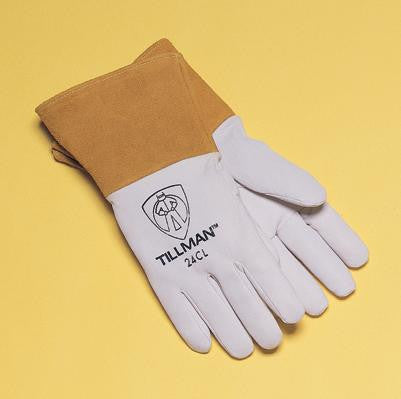 "Tillman  Small Pearl Gray Kidskin Premium Grade TIG Welders Glove With Kevlar Stitching, Straight Thumb And 4"" Cuff"
