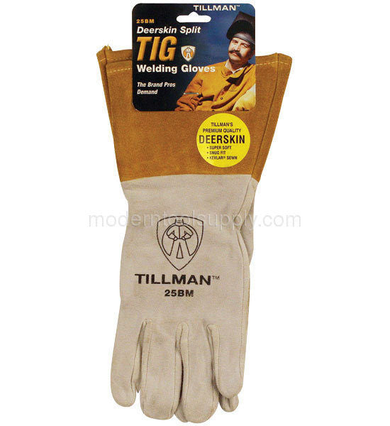 "Tillman  Medium Pearl Gray Deerskin Standard Grade TIG Welders Glove With Kevlar Stitching, Straight Thumb And 4"" Cuff"
