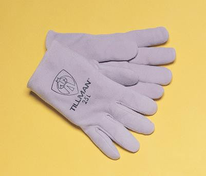 "Tillman  Large Pearl Gray Deerskin Standard Grade TIG Welders Glove With Kevlar Stitching, Straight Thumb And 2"" Cuff"