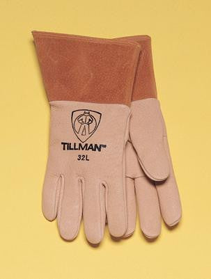 "Tillman  X-Large Heavy Weight Top Grain Brown Pigskin Premium Grade MIG Welders Glove With Kevlar Stitching, Straight Thumb And 4"" Cuff"