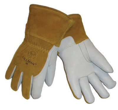 "Tillman Medium Split Back Leather MIG Gloves With Goatskin Palm, Straight Thumb 3 1/2"" Cuff And Fleece Lining"