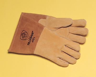 "Tillman Large Brown 14"" Reverse Grain Pigskin Cotton/Foam Lined Welders Gloves With Welted Fingers And Kevlar Stitching (Carded)"