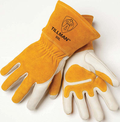 Tillman Large Top Grain Leather MIG Gloves With Split Leather Palm Reinforcements, Split Leather Back, Fleece Lining, Seamless Forefinger And Elastic Back (Carded)