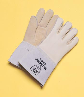 "Tillman Large Gray 14"" Top Grain Cowhide Cotton/Foam Lined Welders Gloves With Reinforced Straight Thumb, Stiff Cowhide Cuff, Welted Fingers, Kevlar Stitching And Pull Tab (Carded)"