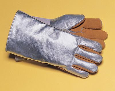Tillman Large Silver And Brown Leather And Aluminized Kevlar Wool Lined Aluminized Welding Glove With Gauntlet Cuff