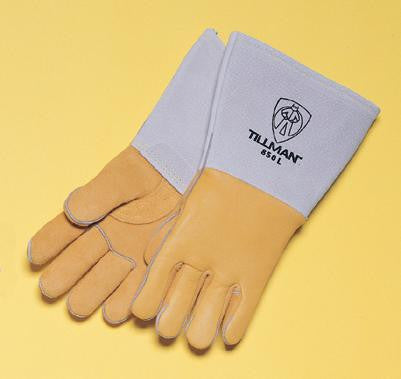 "Tillman Medium Gold 14"" Top Grain Elk Cotton/Foam Lined Welders Gloves With Straight Thumb, Stiff Cowhide Cuff, Welted Fingers, Kevlar Stitching And Pull Tab (Carded)"