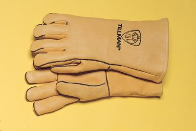 "Tillman Large Gold 14"" Top Grain Elk Wool Lined Welders Gloves With Straight Thumb, Welted Fingers And Kevlar Stitching (Carded)"