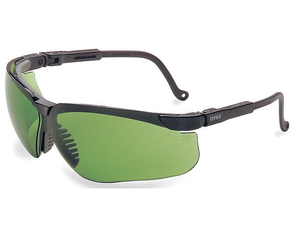 Uvex By Sperian Genesis Safety Glasses With Black Frame And Green And Shade 2 Polycarbonate Infra-dura Ultra-dura Anti-Scratch Hard Coat Lens