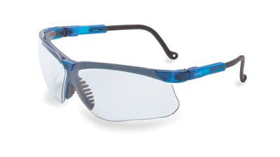 Uvex By Sperian Genesis Safety Glasses With Vapor Blue Frame And Clear Polycarbonate Uvextreme Anti-Fog Lens