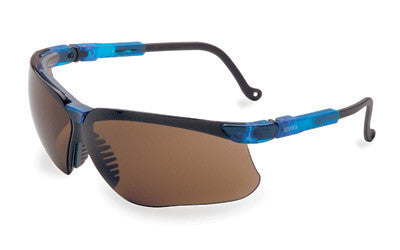 Uvex By Sperian Genesis Safety Glasses With Vapor Blue Frame And Espresso Polycarbonate Uvextreme Anti-Fog Lens