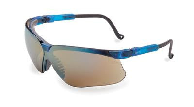 Uvex By Sperian Genesis Safety Glasses With Vapor Blue Frame And Gold Polycarbonate Ultra-dura Anti-Scratch Hard Coat Mirror Lens