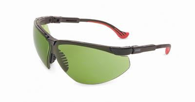 Uvex By Sperian Genesis XC Safety Glasses With Black Frame And Green And Shade 2 Polycarbonate Infra-Dura Ultra-dura Anti-Scratch Hard Coat Lens