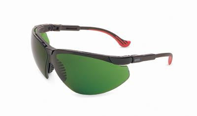 Uvex By Sperian Genesis XC Safety Glasses With Black Frame And Green And Shade 3 Polycarbonate Infra-Dura Ultra-dura Anti-Scratch Hard Coat Lens