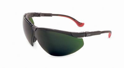 Uvex By Sperian Genesis XC Safety Glasses With Black Frame And Green And Shade 5 Polycarbonate Infra-Dura Ultra-dura Anti-Scratch Hard Coat Lens