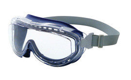 Uvex Flex Seal Indirect Vent Over The Glasses Goggles With Navy Blue Light Weight Silicone Frame, Clear Uvextreme Anti-Fog Lens And Fabric Headband