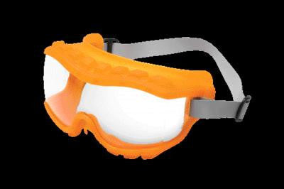 Uvex Strategy Indirect Vent Over The Glasses Goggles With Hot Orange Light Weight Soft Frame, Clear Uvextra Anti-Fog Lens And Neoprene Headband