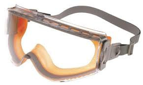 Uvex Stealth Chemical Splash Impact Goggles With Orange And Gray Frame, Clear Uvextreme Anti-Fog Lens And Fabric Headband