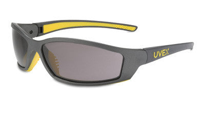 Uvex By Sperian SolarPro Safety Glasses With Gray And Yellow Frame And Gray Polycarbonate Supra-Dura Anti-Scratch Hard Coat Lens