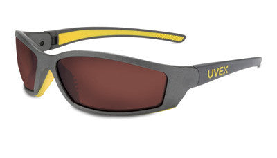 Uvex By Sperian SolarPro Safety Glasses With Gray And Yellow Frame And SCT-Gray Polycarbonate Uvextreme Anti-Fog Lens