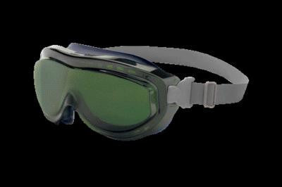 Uvex Flex Seal Indirect Vent Over The Glasses Goggles With Navy Blue Light Weight Silicone Frame, Shade 5.0 Green Uvextreme Anti-Fog Lens And Neoprene Headband