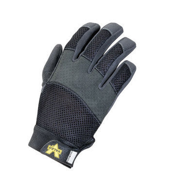 Valeo Medium Black Mechanics Air Mesh Full Finger Synthetic Leather And Mesh Mechanics Gloves With Hook and Loop Cuff, Mesh Back With Padded Knuckles, Synthetic Palm , And Reinforced Fingertips And Stitching