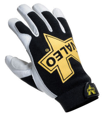 Valeo Small Black, White And Gold Leather Utility Full Finger GoatskinMechanics Gloves With Elastic Cuff, Stretch-Knit Back And Double Leather Palm And Thumb Patches